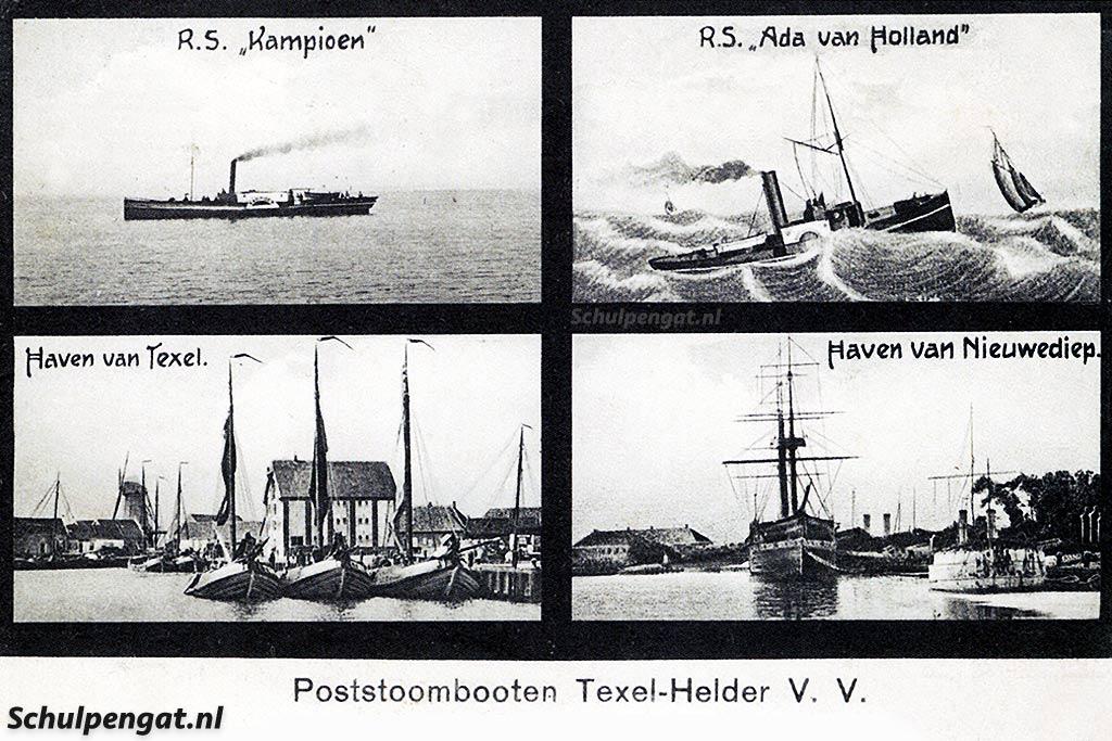 Een van de eerste Texelse veerboten was de raderstoomboot Ada van Holland uit 1878