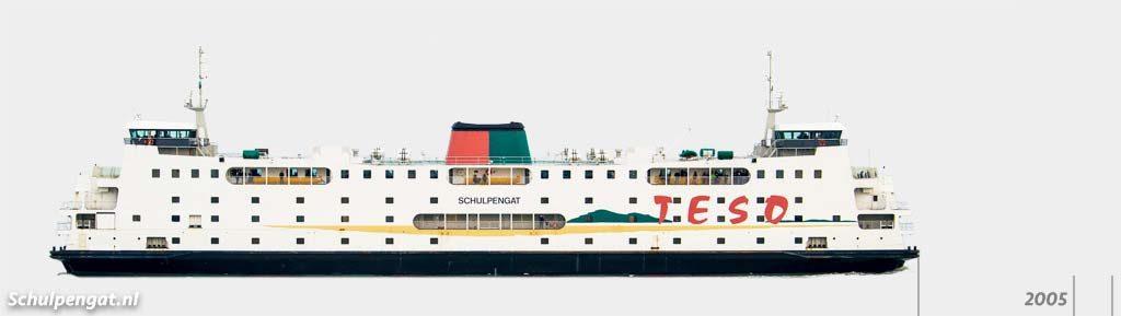Zijaanzicht TESO-vloot Schulpengat (1990)