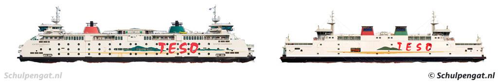 Zijaanzicht TESO-veerboot Dokter Wagemaker en PSD-veerboot Prins Johan Friso