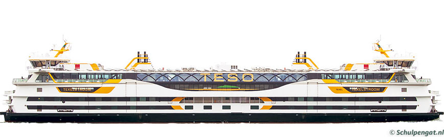 Zijaanzicht TESO-veerboot Texelstroom (2015)